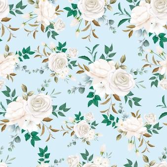 Patrón sin costuras hermosa flor blanca