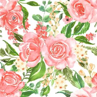 Patrón sin costuras hermosa rosa rosa acuarela flor