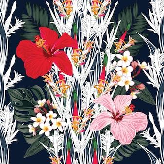 Patrón sin costuras hibiscus, frangipani ave del paraíso flores resumen antecedentes. dibujado a mano.