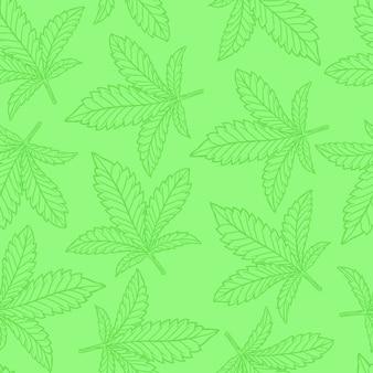 Patrón sin costuras de hoja de cannabis o cáñamo