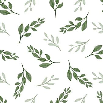 Patrón sin costuras de hoja verde para tela y diseño de fondo