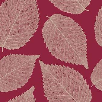 Patrón sin costuras con hojas de olmo esqueletizadas