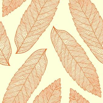 Patrón sin costuras con hojas de serbal esqueletizadas