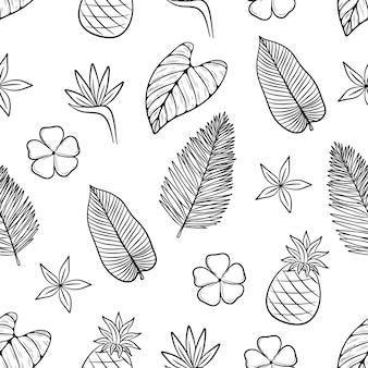 Patrón sin costuras de hojas de verano con estilo de dibujar a mano o doodle