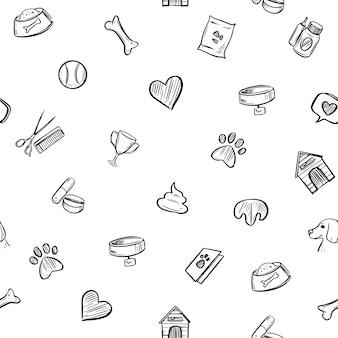 Patrón sin costuras. iconos de perro. ilustración de boceto