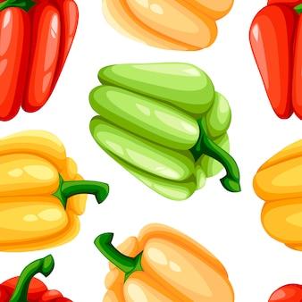 Patrón sin costuras. ilustración de pimienta de color búlgaro. diseño de estilo plano de dibujos animados. ilustración sobre fondo blanco.