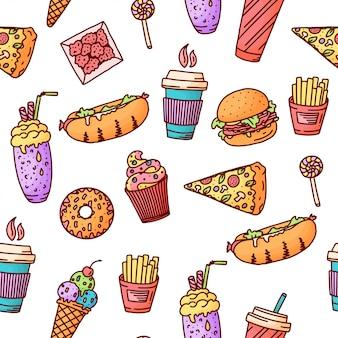 Patrón sin costuras ilustración vintage con elementos de doodle de comida rápida