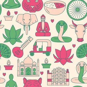 Patrón sin costuras india en estilo de línea