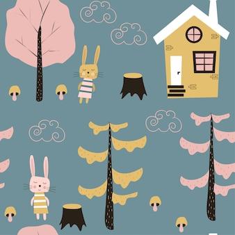 Patrón sin costuras infantil con una casa y liebres