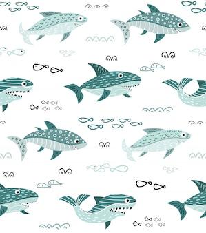 Patrón sin costuras infantil con dibujos animados lindo tiburón
