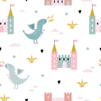 Patrón sin costuras infantil con dragón, castillo, unicornio