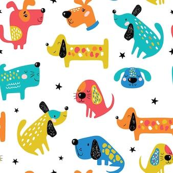 Patrón sin costuras infantil con perros divertidos.