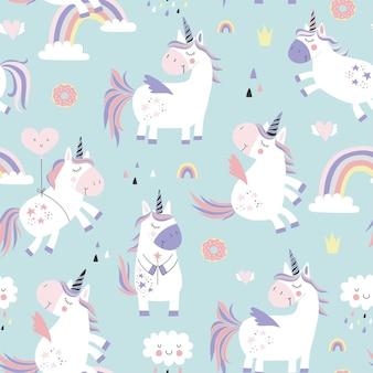 Patrón sin costuras infantil con unicornios.