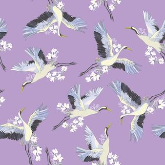 Patrón sin costuras japonés de aves