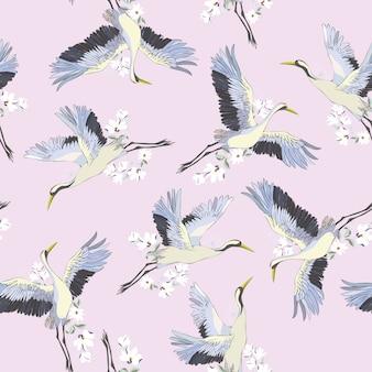 Patrón sin costuras japonés de pájaros