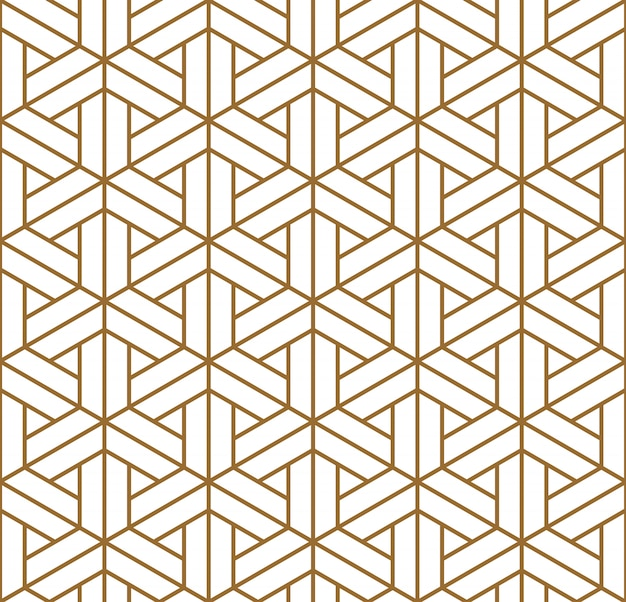 Patrón sin costuras japonés shoji kumiko en dorado.