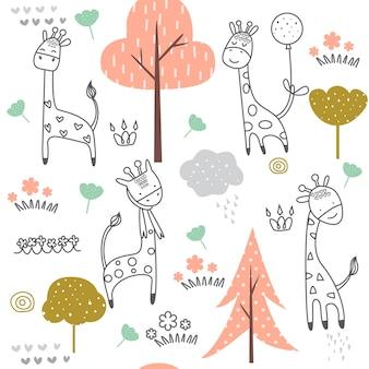 Patrón sin costuras jirafa linda