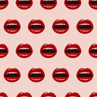Patrón sin costuras con labios rojos.