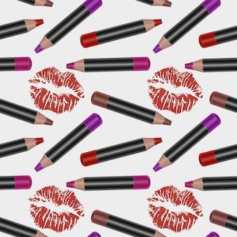 Patrón sin costuras con lápices de labios 3d realistas, textura de delineadores de labios brillantes