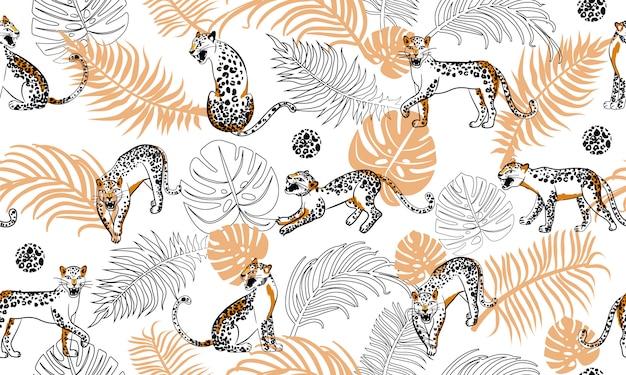 Patrón sin costuras de leopardo