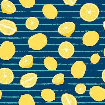 Patrón sin costuras de limón en raya