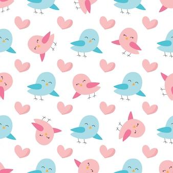 Patrón sin costuras linda primavera con coloridas aves.