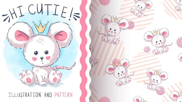 Patrón sin costuras linda princesa ratón