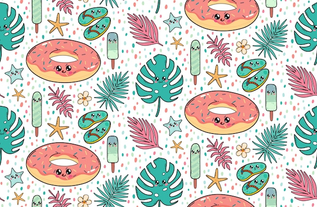 Patrón sin costuras con una linda rosquilla flotante para la piscina, pizarras, helados y hojas tropicales en el estilo kawaii de japón. personajes de dibujos animados felices con la ilustración de caras divertidas.