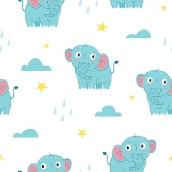 Patrón sin costuras lindo bebé elefante
