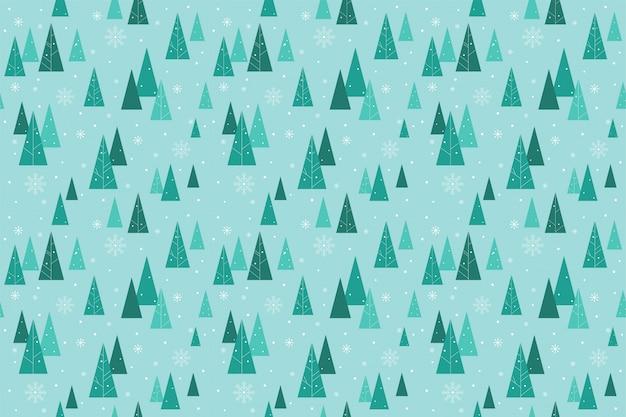 Patrón sin costuras lindo bosque en invierno