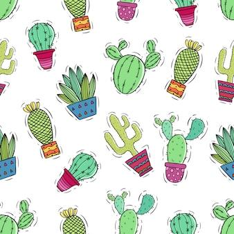 Patrón sin costuras de lindo cactus con garabato coloreado o estilo de dibujo a mano