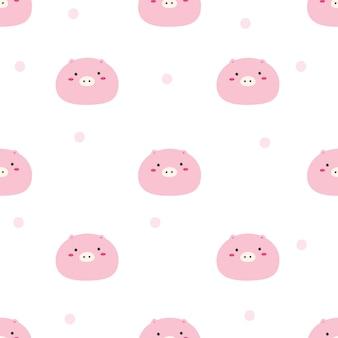Patrón sin costuras lindo cerdo