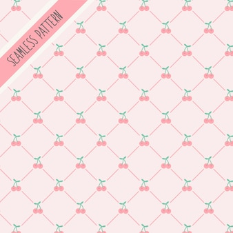 Patrón sin costuras lindo cerezas rosadas