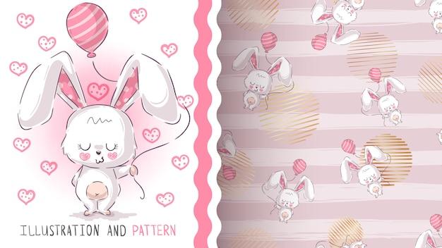 Patrón sin costuras lindo conejo de peluche