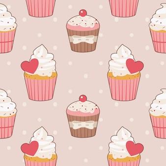 El patrón sin costuras de lindo cupcake con lunares.