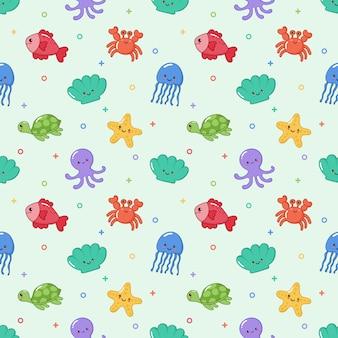 Patrón sin costuras lindo divertido mar y océano animales dibujos animados