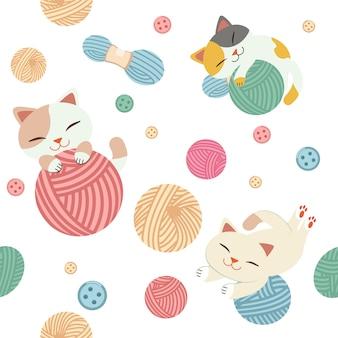 El patrón sin costuras de lindo gato juega con un hilo.