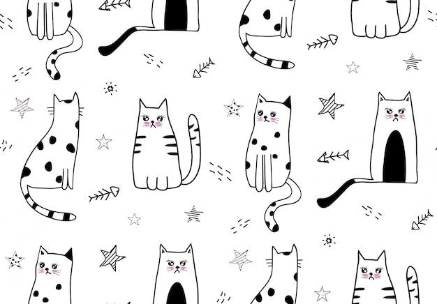 Patrón sin costuras lindo gato