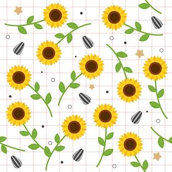 El patrón sin costuras de lindo girasol con semillas en estilo plano.