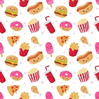 Patrón sin costuras lindo gracioso comida rápida estilo kawaii