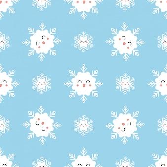 Patrón sin costuras lindo invierno con copos de nieve kawaii.