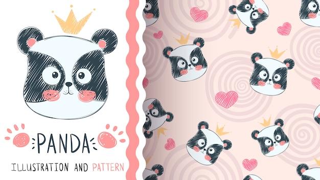 Patrón sin costuras lindo panda