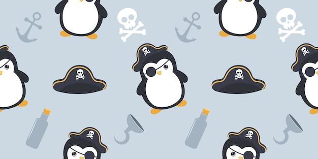Patrón sin costuras lindo pingüino