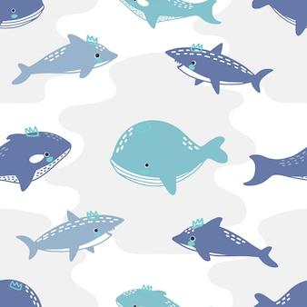 Patrón sin costuras lindo tiburón ballena