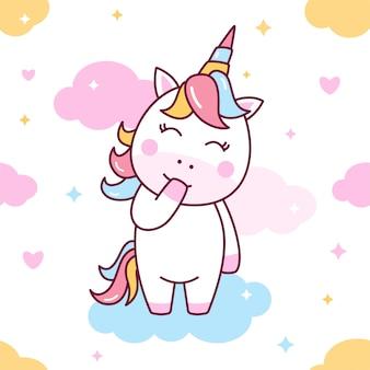 Patrón sin costuras lindo unicornio