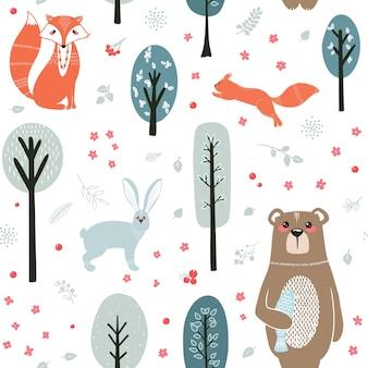 Patrón sin costuras. lindos animales en el fondo del bosque, árboles, plantas. oso, zorro, ardilla, liebre. animales del bosque. ilustraciones en estilo escandinavo