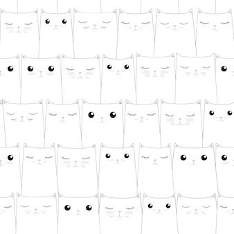 Patrón sin costuras con lindos gatos