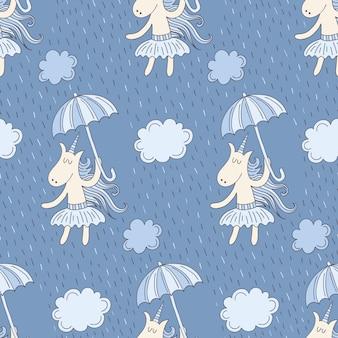 Patrón sin costuras con lindos unicornios