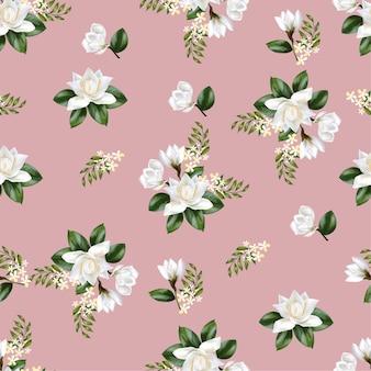 Patrón sin costuras de magnolia