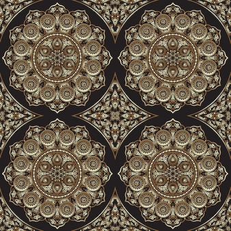 Este patrón sin costuras con mandala - ornamento redondo